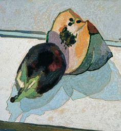 "Cressida Campbell woodblock painting ""Pumkin and Eggplant"" 1991"