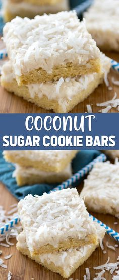 Coconut Sugar Cookie bars are an easy sugar cookie baked in a pan! They have coconut oil and coconut extract and a coconut frosting for triple the coconut flavor. These easy cookie bars are the perfect dessert! Coconut Desserts, Coconut Recipes, Easy Desserts, Delicious Desserts, Coconut Frosting, Coconut Cookie Recipe, Coconut Cookies, Cherry Cookies, Sugar Cookie Bars