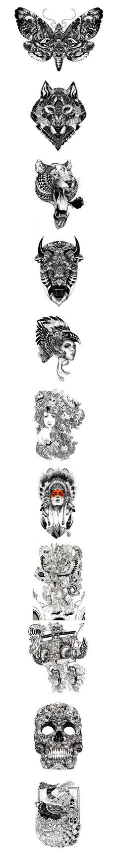 Les magnifiques réalisations de Iain Macarthur, des illustrations souvent à base de noir et blanc. Un univers excellent. #WolfTattooIdeas