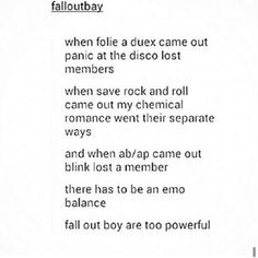 Fall Out Boy, Panic! At The Disco, My Chemical Romance, Blink-182