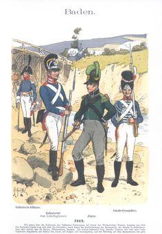 Vol 04 - Pl 57 - Baden. 1812. Garde-Grenadier. Jäger. Infanterie-Offizier. Infanterist vom Leib-Regiment.