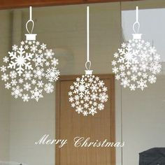 Furnishings Wall Stickers Glass Window Stickers Window Paper Christmas Wall Stickers Christmas Aesthetic Ball In