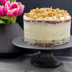 Carrot cake with healthy teff flour and some granola crunch on top.