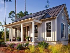 This tiny farmhouse cottage is no joke! This has to be one of the coziest, homiest tiny houses we have ever seen. Guest House Plans, Pool House Plans, Cottage Style House Plans, Cottage Style Homes, Cottage Design, Small House Plans, Guest Cottage Plans, Guest House Cottage, Retirement House Plans