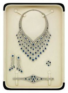 Diamond Necklaces : SAPPHIRE AND DIAMOND PARURE BY ELIE CHATILA
