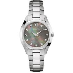 Ladies Bulova Diamond Dial Watch-96P158 , Silver