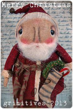 Primitive Christmas Santa Claus Original Art Doll by GRIMITIVES, $75.00