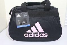 """adidas diablo small duffel sport gym bag women 18.5"""" x 11"""" x 10"""" black/pink #adidas #black #duffel # gymbag #diablo"""