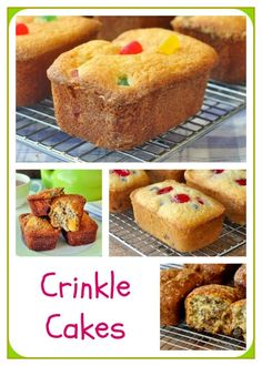 Gumdrop Crinkle Cakes – a childhood memory recipe. Gumdrop Crinkle Cakes – a childhood lunchbox favourite makes a comeback in this easy snack cake recipe. Links to three other recipe versions too. Rock Recipes, Cake Recipes, Dessert Recipes, Dessert Dishes, Christmas Recipes, Bread Recipes, Mini Cakes, Cupcake Cakes, Cupcakes
