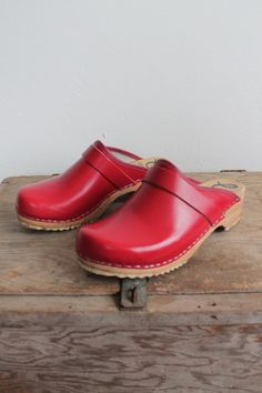 Vintage 90s Red Vegan Classic Swedish Clogs womens by vauxvintage