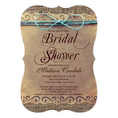 "<a href=""http://www.zazzle.com/rusticcountrywedding/products/cg-196429911568941454?rf=238133515809110851&tc=SeeAllButton""><img src=""http://dabuttonfactory.com/b.png?t=See%20all%20matching%20items&f=sans-serif-Bold&ts=19&tc=ffffff&it=png&c=15&bgt=unicolored&bgc=4d96d6&hp=20&vp=11""></a>    Rustic Country Distressed Brown Bridal Shower Invitations with distressed vintage antique distressed paper background and printed burlap design.  It has a teal turquoise blue printed twine bow at the top of…"
