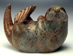 Sea Otter at Play Soapstone Sculpture - Northwestern art Pottery Animals, Ceramic Animals, Clay Animals, Ceramic Art, Arte Inuit, Inuit Art, Small Sculptures, Animal Sculptures, Stone Sculpture