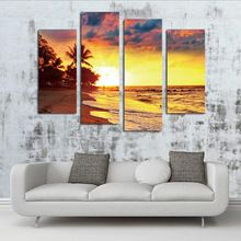 4 Panel Tropical Scenery Beach Modern Wall Art For Wall Decor Home Decoration Picture Paint on Canvas Prints Painting(Unframed)(China (Mainland))