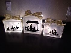 Lighted Nativity glass blocks-clear blocks and some frosting spray Christmas Blocks, Christmas Nativity, Winter Christmas, Christmas Holidays, Holiday Fun, Holiday Ideas, Christmas Crafts For Gifts, Craft Gifts, Christmas Decorations