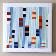 blue quilt squares by Sarah Stearns Small Quilts, Mini Quilts, Nautical Quilt, Nautical Nursery, Modern Quilt Blocks, Modern Quilting, Geometric Quilt, Quilt Modernen, Textiles
