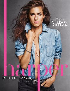 Allison Williams and her killer abs are featured in Harper by Harper's Bazaar.