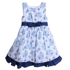 Nannette Girls 4-6x Floral And Dot Printed Dress With Sash And Rosettes Attached - Appealing Apparel: Price: $18.00 - Blue bow is attached to back of dress on sash and zipper is hidden