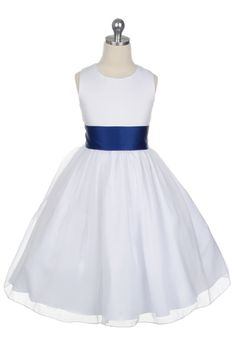 Satin Bodice Organza Skirt Flower Girl Dress with Royal Sash T5378RB $46.95 on www.GirlsDressLine.Com