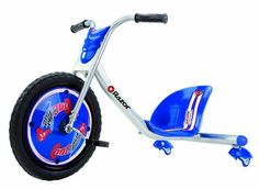 Kids can enjoy hours of riding fun with this Razor RipRider 360 Drifting Trike. It includes three wheels so children can perform spins and tricks like drifting. This Razor RipRider 360 trike has pedals at the front and a low-to-the-ground seat. Drift Trike, Best Scooter, Kids Scooter, Big Wheel Trike, Trike Bicycle, Tricycle Bike, Bicycle Parts, Forks Design, Sports Games For Kids