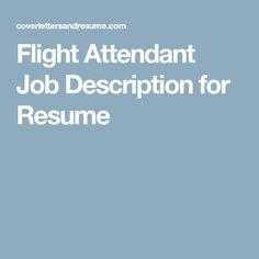 flight attendant job description