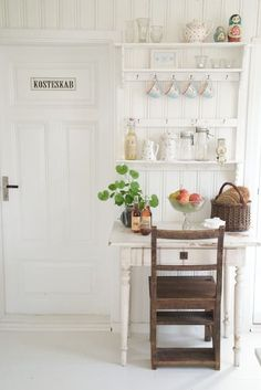 Country Style Chic: Swedish Summer House. The touch of brown goes so well. It should be overpowering, but it's not.