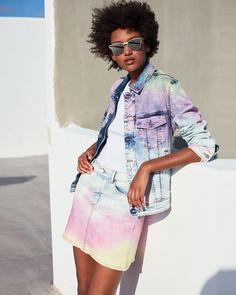 Zadig & Voltaire Tie Dyed Cotton Denim Jacket In Blue Tie Dye Fashion, Denim Fashion, Denim Outfit, Denim Overalls, Tie Dye Jackets, Denim Jackets, Bleach Tie Dye, Tie Dye Colors, Blue Summer Dresses