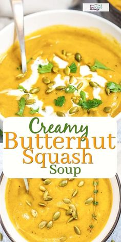 Homemade Creamy Butternut Squash Soup is a rich and delicious addition to your fall menu! The best comfort foods also help you get in your veggies for the day. This soup is no exception! Curl up by the fireplace with this delicious dish. Easy Vegan Soup, Paleo Soup, Paleo Diet, Butternut Squash Soup Creamy, Zucchini Zoodles, Best Comfort Food, Comfort Foods, Soup Appetizers, Tasty Dishes