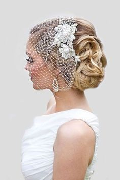 pinterest wedding hairstyles classik updo with net veil perlebridal #weddinghairstyles