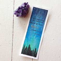 It's important to remember that we all have magic inside us. J.K. Rowling #harrypotter #magic #watercolor #galaxy #nature #night #trees #magicofarts #art #painting #quotes #lookmako #staedtlerpens #gemstone #amethyst #stars #jkrowling #potterhead #explore #adventure #bookmark
