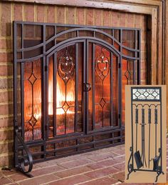 not large enough - Large Two-Door Floral Fireplace Screen with Beveled Glass Panels and Tool Set