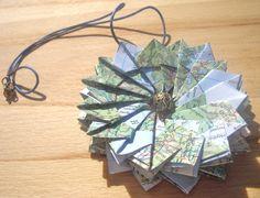 Origami Mandala necklace made from UK and Ireland map
