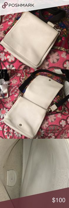 Vintage Coach White Leather Crossbody Adj. Purse This purse is amazing and in great condition for a white leather purse...I will definitely list dimensions and all of the above when I find my ruler!! Coach Bags Crossbody Bags