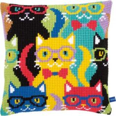 Borduurpakket cushion Funny cats - Vervaco