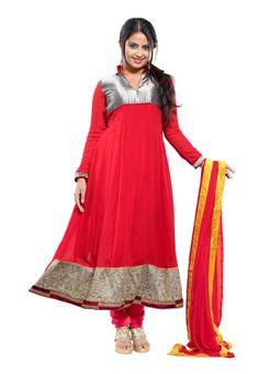 #Red Good Looking Anarkali #Suit