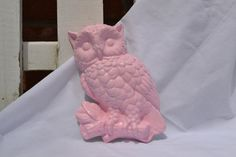 pink chalk owl vintage chalk decor pink and by UpcycledWhimsies