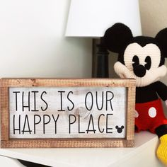 Disney Farmhouse Signs Your home is your happy place, and nothing makes you smile like a touch of Disney magic in your home. Make magic happen every day with this fun sign. It's sure to brighten your day. Check out all my signs, Disney shirts, Disney Diy, Casa Disney, Disney Rooms, Disney Home Decor, Disney Crafts, Disney Playroom, Disney Kitchen Decor, Disney Wall Decor, Disney Dream