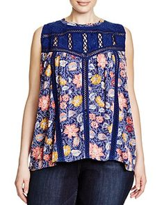 Lucky Brand Plus Embroidered Floral-Print Top