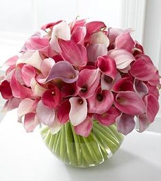 Calla Lily Love Finesse them with style and sophistication of these blushing blooms. Miniature calla lilies cluster together in a whimsical and soft display of lavenders and pinks.  Includes 70 stems of assorted pink and lavender miniature calla lilies and a clear glass bubble bowl vase. Custom designed by one of San Mateo Florist desingers and hand delivered to enjoy! 14
