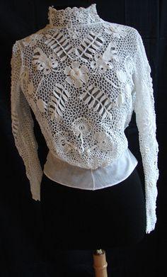 Maria Niforos - Fine Antique Lace, Linens & Textiles : Antique & Vintage Clothing # CL-12 Edwardian Irish Crochet Blouse