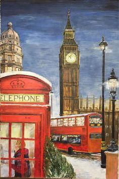 """Oil painting / Город ручной работы. Ярмарка Мастеров - ручная работа. Купить Картина маслом """"Рождественский Лондон"""" 40*60. Handmade. Лондон"""