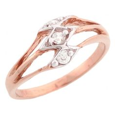 10k Rose Gold Unique Design Diamond Promise Ring *** Unbelievable  item right here! : Promise Rings Jewelry