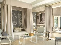 Bedroom in The Great House at Greystone Estate. Design by Mary McDonald. H Design, Design Blog, House Design, Design Ideas, Design Inspiration, Style At Home, French Living Rooms, Acrylic Furniture, Woman Bedroom