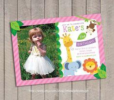 Girl Jungle Safari Birthday Invitation / by LittleApplesDesign