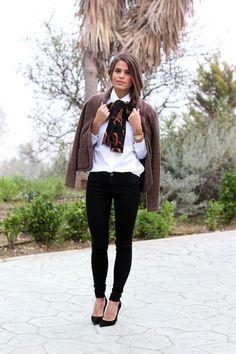 Black skinnies. Black heels. Print scarf. Blazer/Jacket