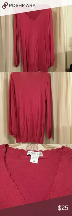 NWOT V-Neck Tunic Sweater. Size Medium Never worn, burgandy/dark red v-neck tunic lightweight sweater. No tags because it was ordered online. Oversized Medium. Newport News Tops Tunics