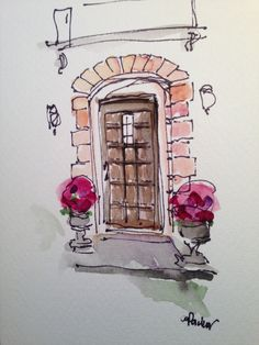 Door Watercolor Card por gardenblooms en Etsy, $4,00