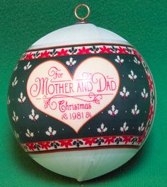 "1981 Hallmark Satin Keepdake Ornament ""Mother And Dad"" - Still In Box"