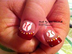 hand painted baseball Acrylic nails #nailart  #INM Northern Lights Red Acrylic
