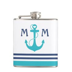 Turquoise Nautical Heart Anchor Flask