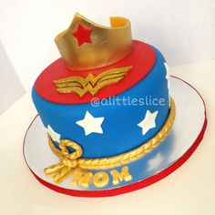 Wonder Woman Cake - Everything edible!    Made by Christina Pagan & Yesenia Figueroa.    Find us:    Facebook.com/alittleslice1 & on Instagram @Tracey Edgell
